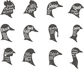 Poultry Icons Collection, Butchery Labels Templates