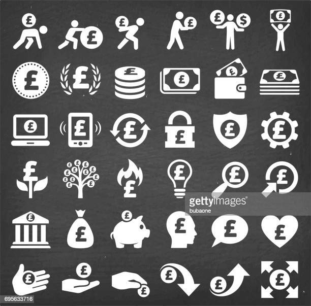 pound finance & money vector icon set on chalkboard - pound symbol stock illustrations