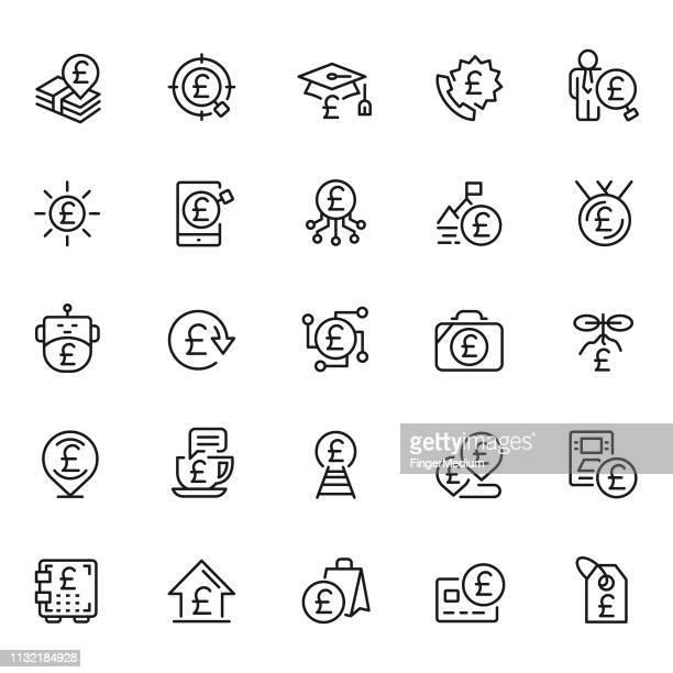 pound icon set - pound symbol stock illustrations