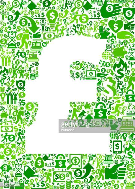 pound money and finance green vector icon background - flipping a coin stock illustrations, clip art, cartoons, & icons