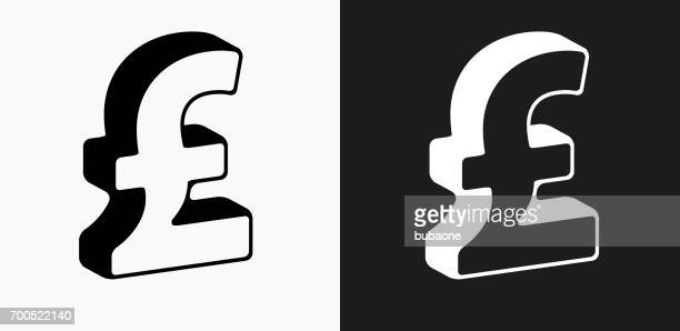 Pound Sign Icon on Black and White Vector Backgrounds