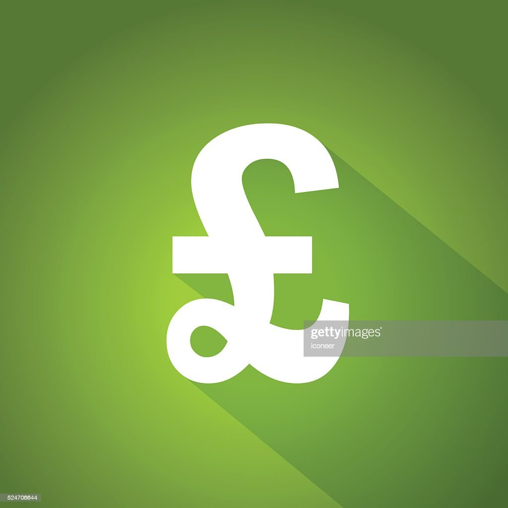 Pound Sterling Currency Symbol On Green Glowing Background Vector