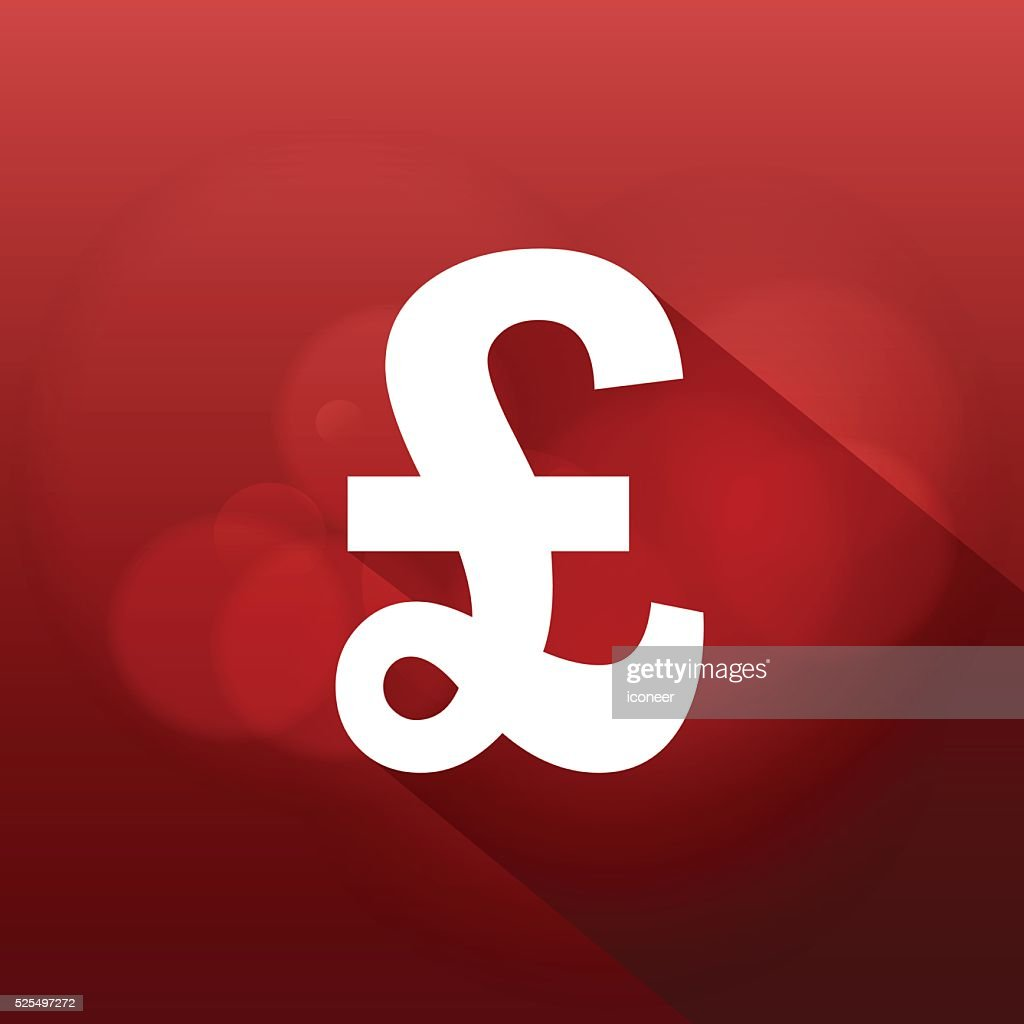 Pound Sterling Currency Symbol On Red Glowing Background Vector Art