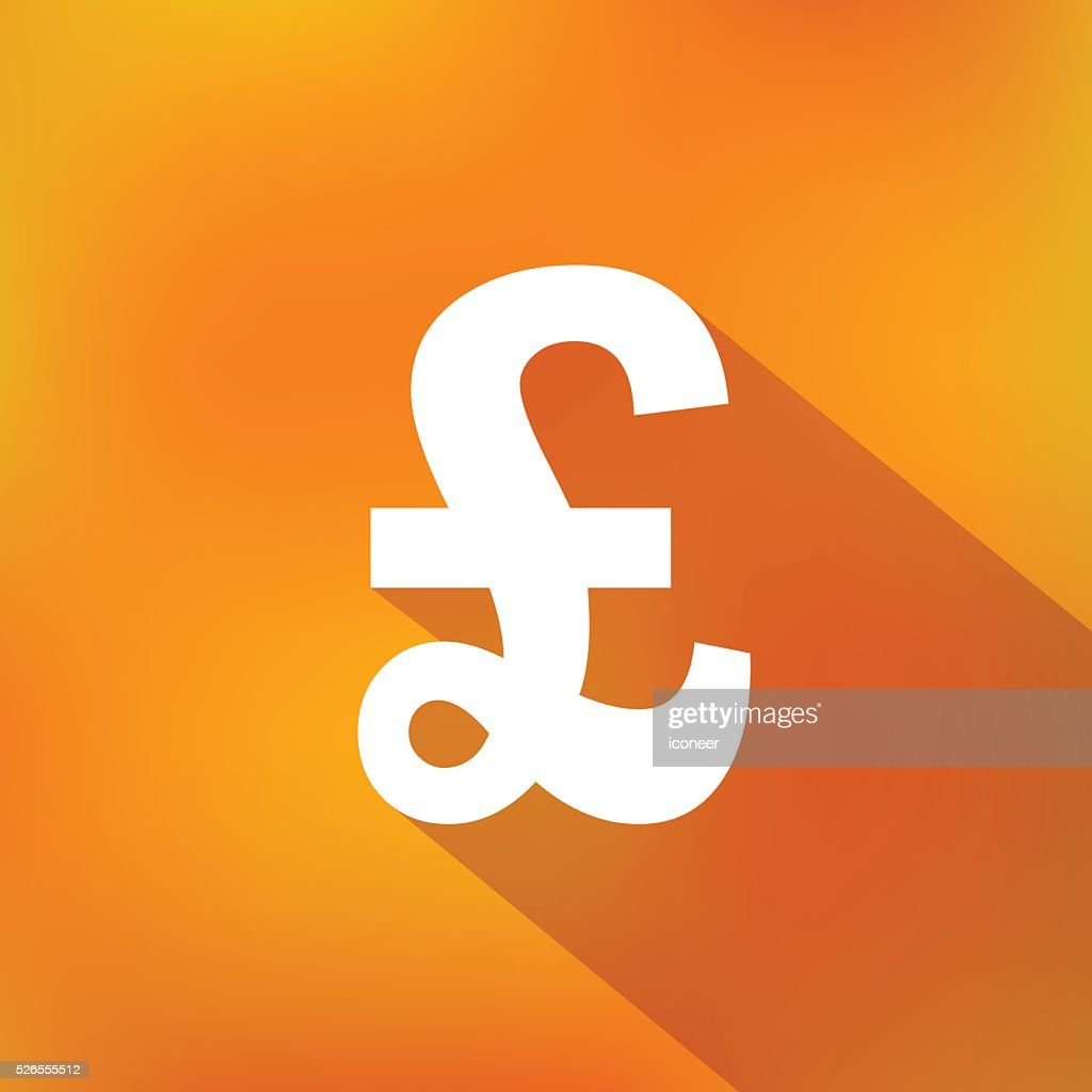 Livre Sterling Symbole Monetaire Sur Simple Fond Orange