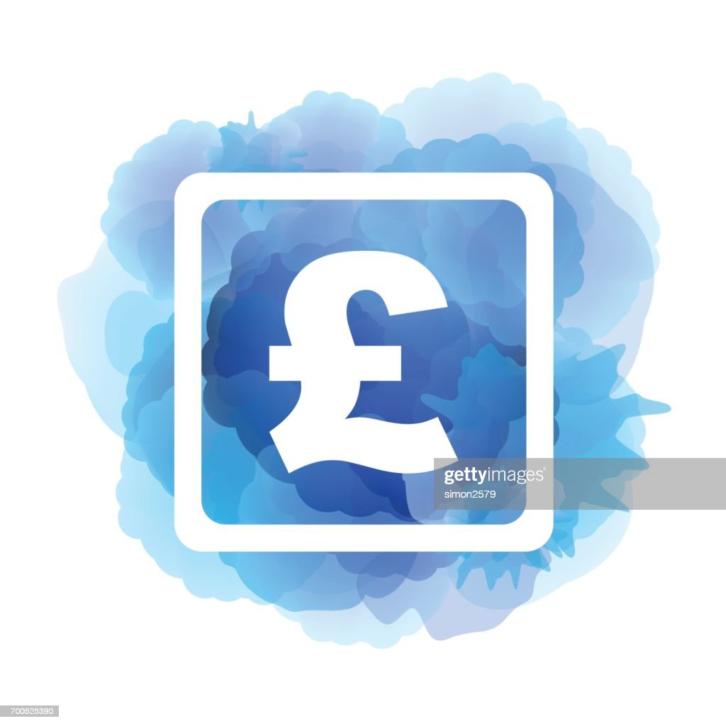 Pound Sterling Symbol On Blue Color Watercolor Background Vector Art