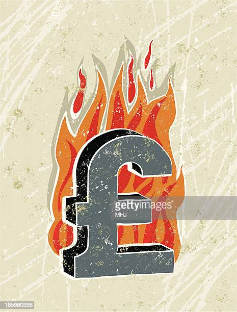 pound sterling symbol on fire - money to burn stock illustrations, clip art, cartoons, & icons
