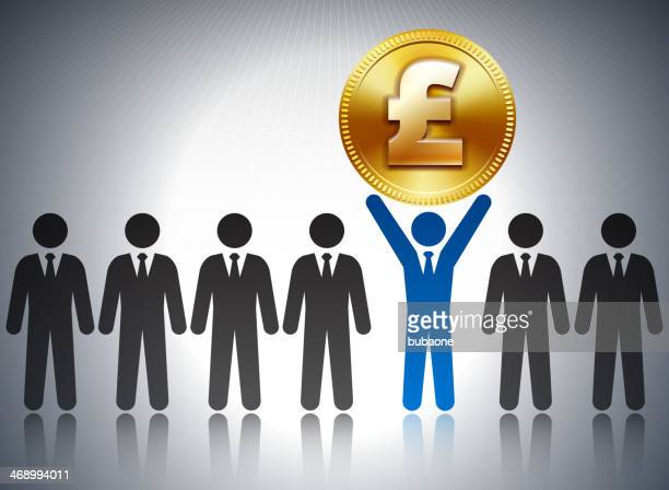 pound success coin with business stick figures - millionnaire stock illustrations, clip art, cartoons, & icons