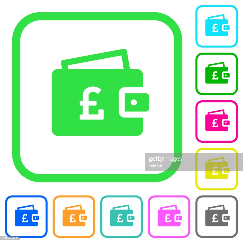 Pound wallet vivid colored flat icons icons