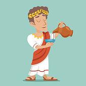 Pour drink jug bowl Roman Greek Retro Vintage Businessman Cartoon