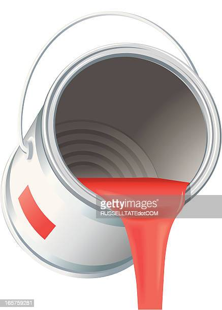 Pouring red paint can