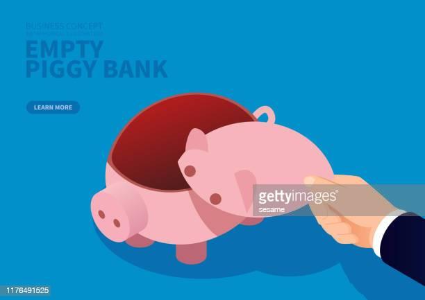 poverty, empty piggy bank - bankruptcy stock illustrations