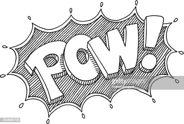 pow! comic beschriftung abbildung - ausgemalte federzeichnung stock-grafiken, -clipart, -cartoons und -symbole