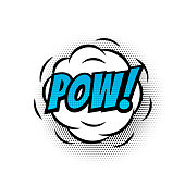 Pow comic text speech bubble vector isolated template. Pop art sound effect puff cloud icon of color phrase lettering on white background