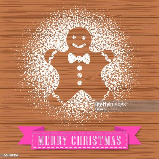 Powdered Sugar Decorate A Gingerbread Man Shape