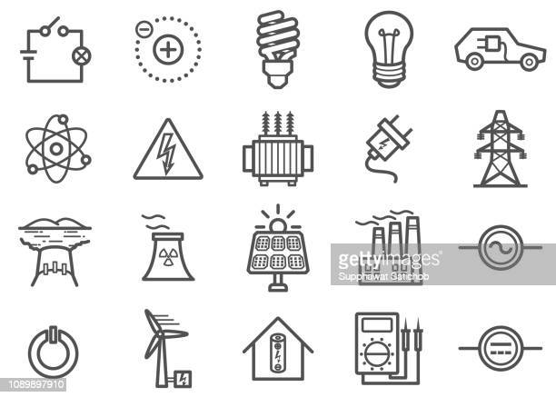 illustrazioni stock, clip art, cartoni animati e icone di tendenza di power and electricity line icons set - elettricità