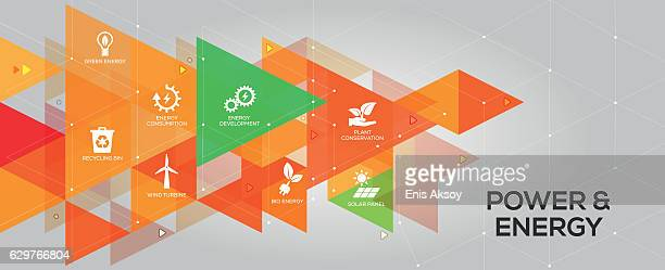 power and energy banner and icons - fuel station stock illustrations, clip art, cartoons, & icons