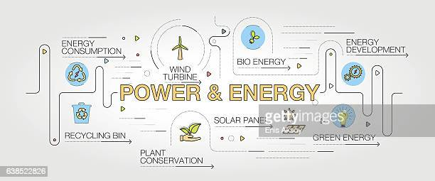 power and energy banner and icons - solar power station stock illustrations, clip art, cartoons, & icons