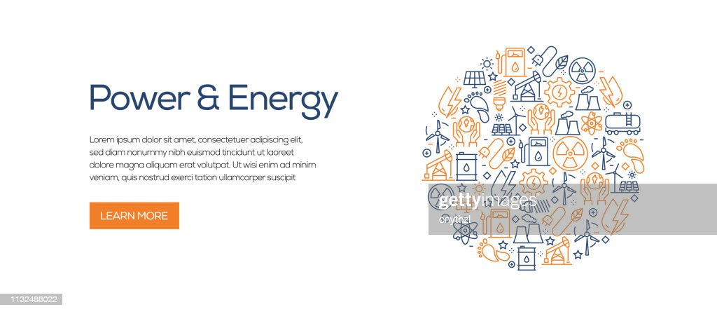 Power and Energy Banner Template with Line Icons. Modern vector illustration for Advertisement, Header, Website. : stock illustration