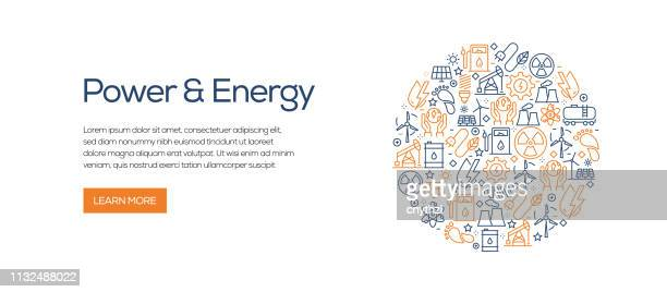 power and energy banner template with line icons. modern vector illustration for advertisement, header, website. - fuel station stock illustrations, clip art, cartoons, & icons