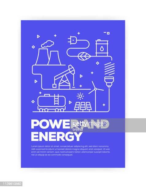 ilustraciones, imágenes clip art, dibujos animados e iconos de stock de alimentación y estilo de línea de energía concepto diseño de portada para anual informe, folleto, folleto. - herramientas industriales