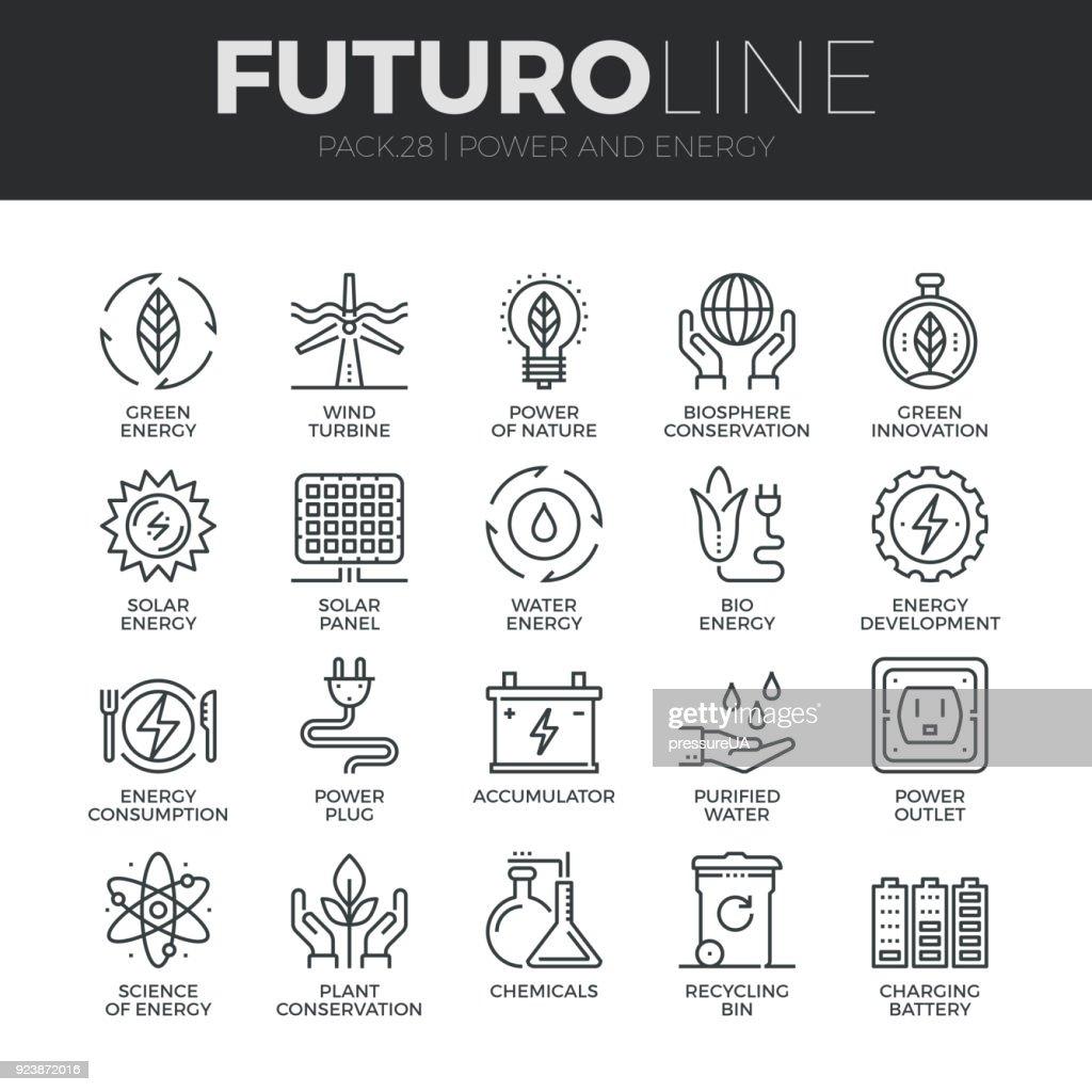 Power and Energy Futuro Line Icons Set