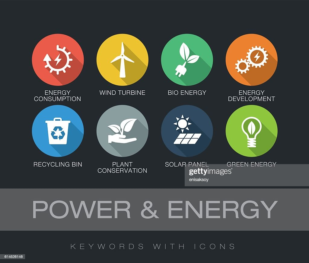 Power and Energy keywords with icons : stock illustration