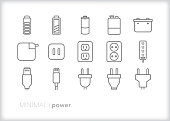 Power and energy line icon set