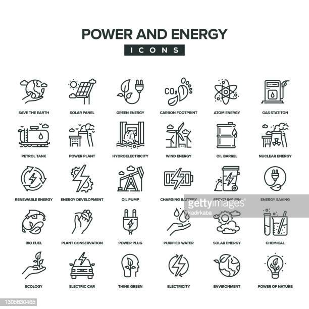 power and energy line icon set - solar energy dish stock illustrations