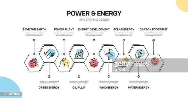 power and energy related line infographic design - power in nature stock illustrations