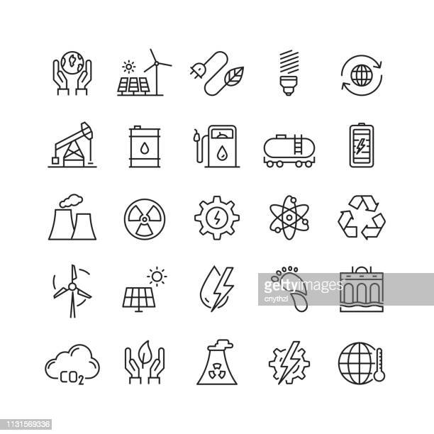 power and energy related vector line icons - nuclear energy stock illustrations