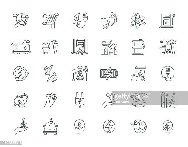 power and energy thin line icon set series - solar energy dish stock illustrations