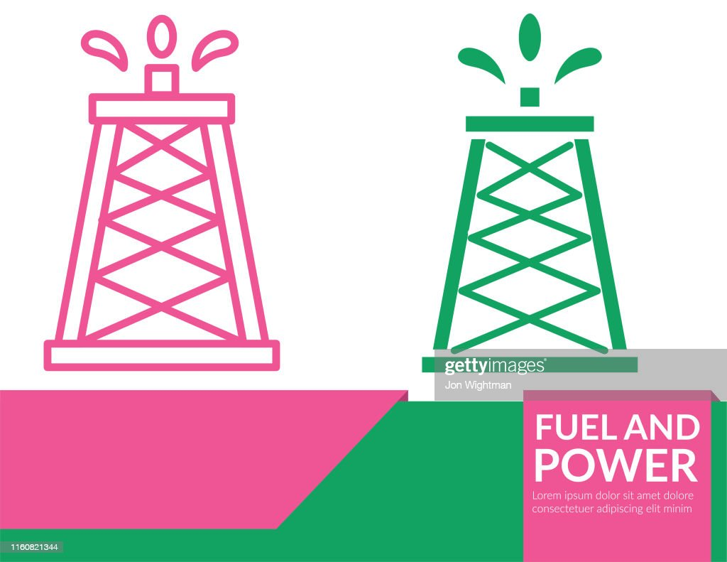 Power and Fuel Icon Banner - Oil Tower : stock illustration
