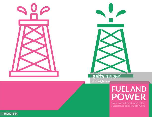 power and fuel icon banner - oil tower - distillation stock illustrations, clip art, cartoons, & icons