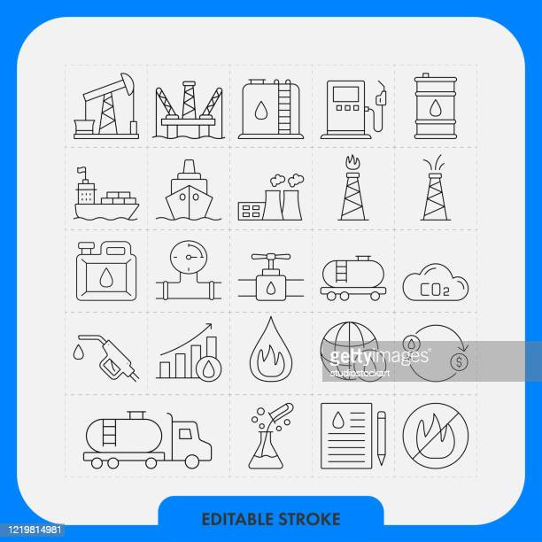 ilustraciones, imágenes clip art, dibujos animados e iconos de stock de power and heavy industry line icon set. trazo editable - industriapetrolera