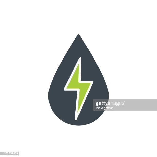 ilustraciones, imágenes clip art, dibujos animados e iconos de stock de icono plano de energía y aceite - energía hidroeléctrica - fuerzas de la naturaleza