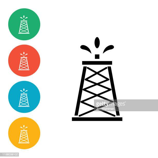 Power and Oil Flat Icon - Oil Tower