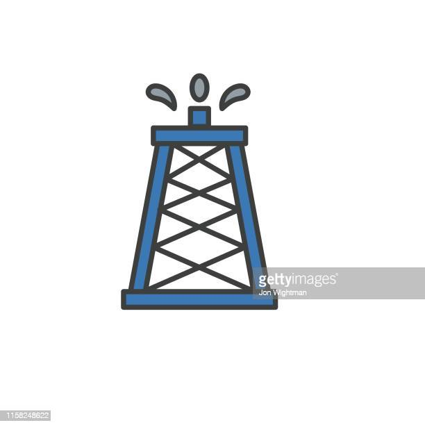 power and oil flat icon - oil tower - distillation stock illustrations, clip art, cartoons, & icons