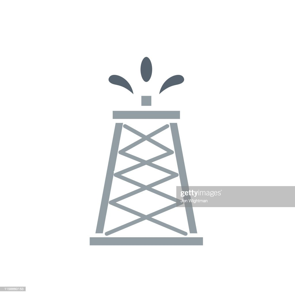 Power and Oil Flat Icon - Oil Tower : stock illustration