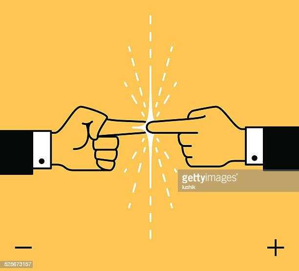 power business contact - sparks stock illustrations