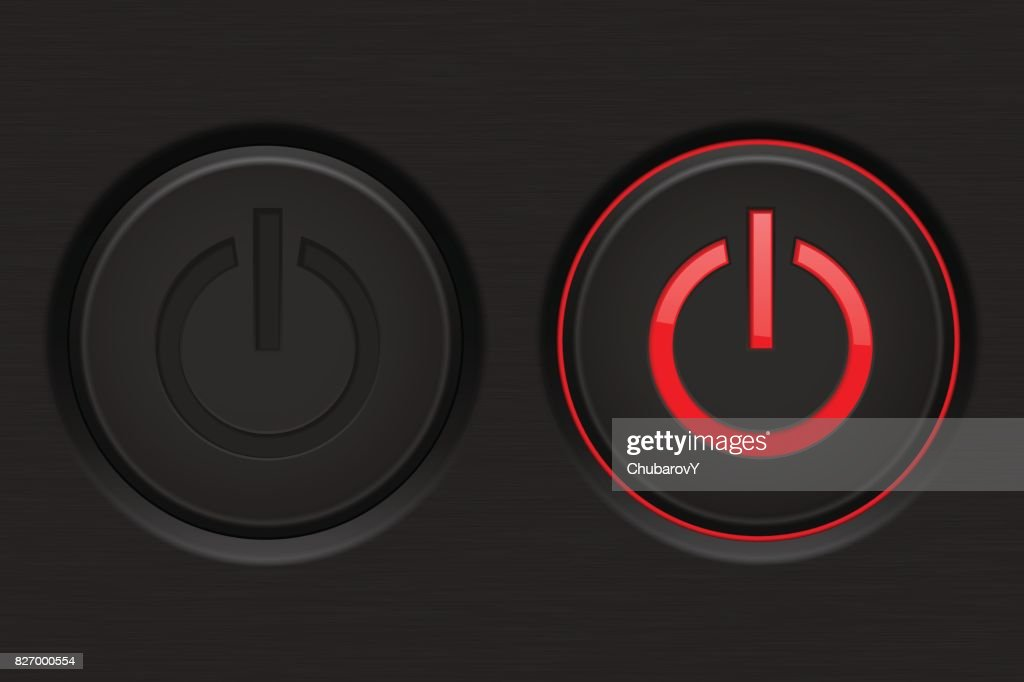 Power button. Black button with red backlight