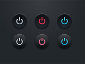 Power button icon set - simple flat design isolated on black background
