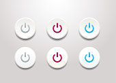 Power button icon set - simple flat design isolated on white background