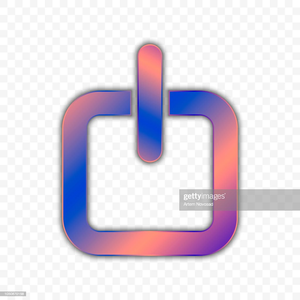 Power button in square design. Vector illustration on a transparent background.