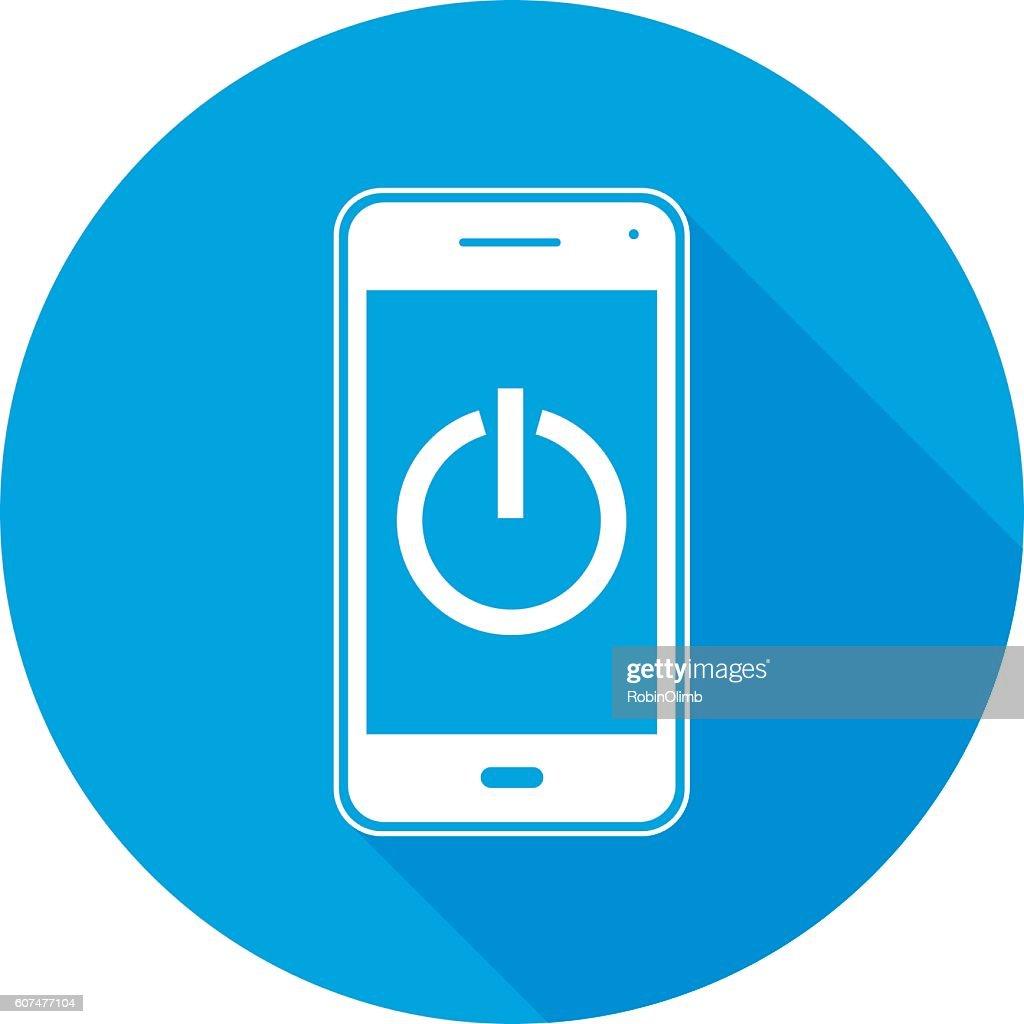 電源ボタン スマートフォン ラウンド アイコン : ストックイラストレーション