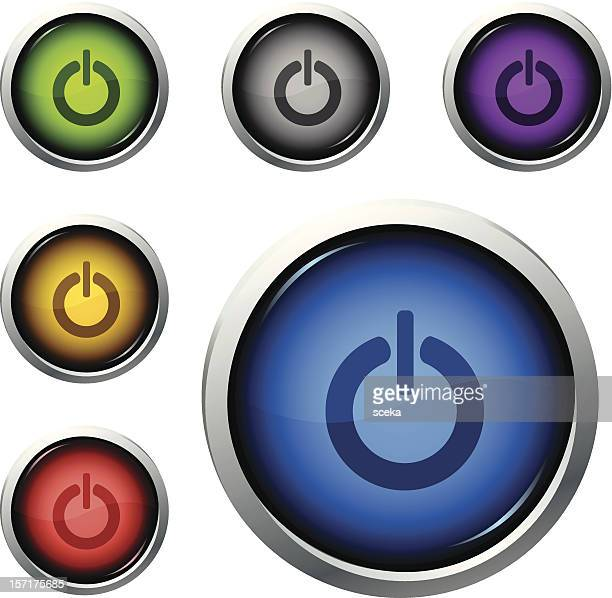 power button - start button stock illustrations, clip art, cartoons, & icons
