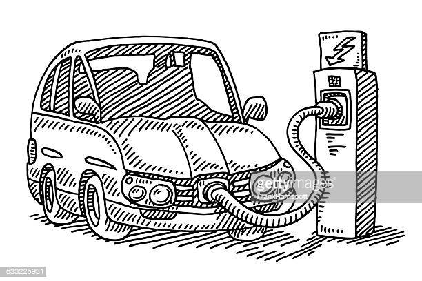 power charging station electric car drawing - electric vehicle charging station stock illustrations