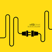 Power cord graphic on a yellow background