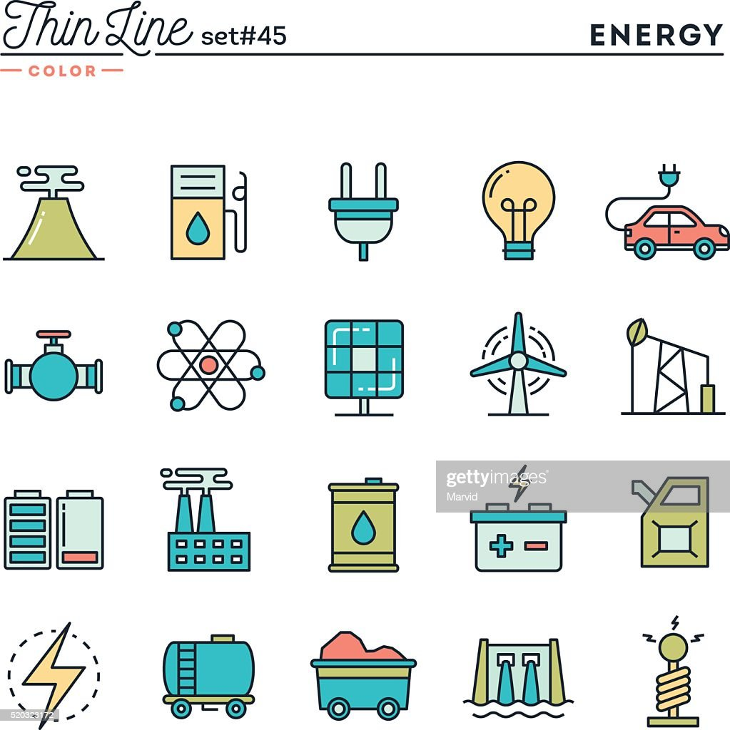 Power, energy, electricity production and more, thin line color icons