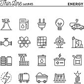 Power, energy, electricity production and more, thin line icons
