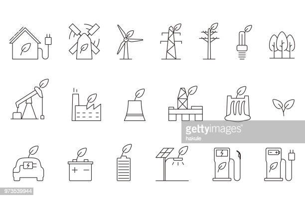 power energy icon set, vector illustration - fuel station stock illustrations, clip art, cartoons, & icons